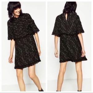 Zara Woman Black Tweed Fringe Metallic Dress